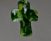 Green Glass Cross Suncatcher