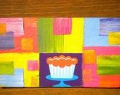 Sweet Pastel Chocolate Cupcake - Oil Handpainted Magnet ACEO
