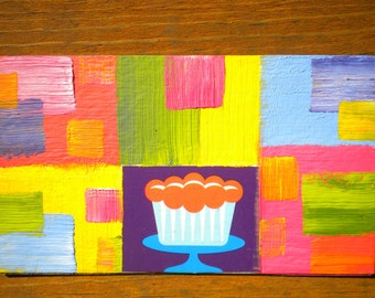 Sweet Pastel Chocolate Cupcake - Oil Handpainted Magnet ACEO