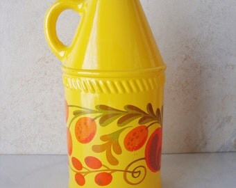 Vintage Avon Yellow Flowered Bottle with Handle, Pennsylvania Dutch Lotion