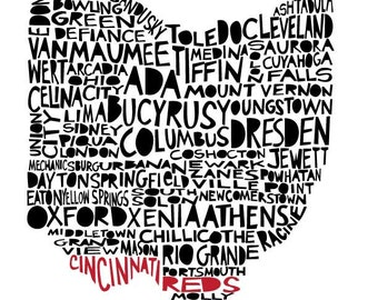 Large OHIO Cincinnati Reds special edition print