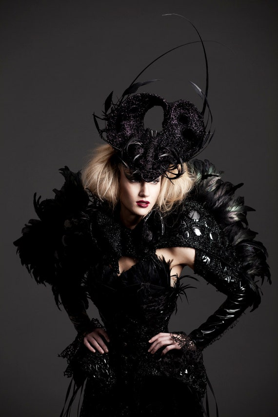 Black feather cape with black pvc and embroidery inspired by Alexander McQueen