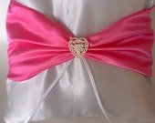 Ring Pillow hot pink middle white satin pillow Heart center
