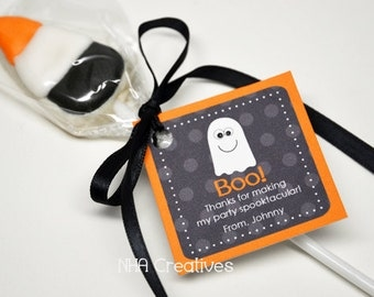 Personalized Halloween Ghost Favor Tag - Personalized DIY Printable Digital File