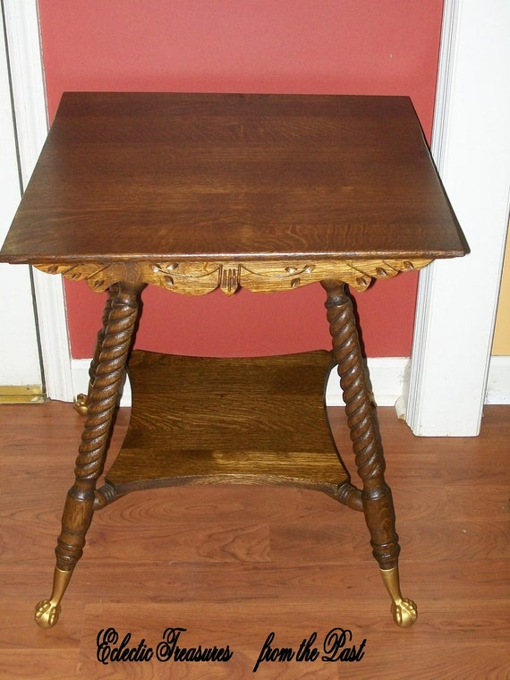 Quarter Sawn Oak Lamp Table Rope Twist Legs Ball and Claw Feet