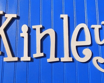 """8"""" Size Unpainted Wooden Wall Letters, Thin-Whimsical Font, Gifts and Decor for Nursery, Home, Playrooms, Dorms"""