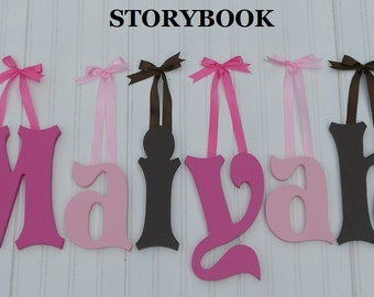"""SALE :) 8"""" Size Painted Wooden Wall Letters, Storybook plus Various other Fonts, Gifts and Decor for Nursery, Home, Playrooms, Dorms"""