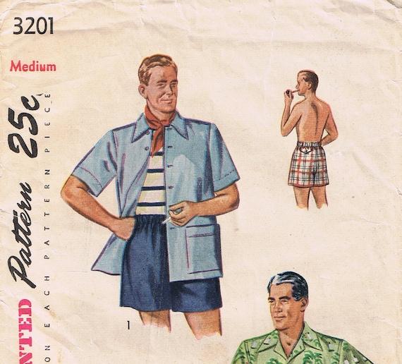 Men's Vintage Swimsuit Sewing Pattern, Simplicity 3201