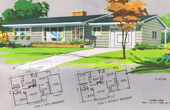 Mid century modern ranch house plans 1961 by for 1960 ranch house plans