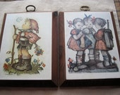 Two Cute Vintage Hummel Wood Wall Plaques