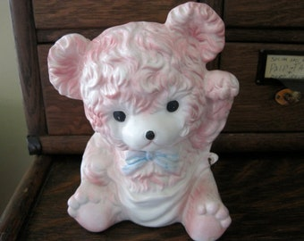 Adorable Vintage Pink Relpo Teddy Bear Planter