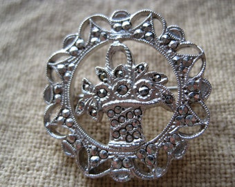 Pretty Vintage Silver Marcasite Basket of Flowers Brooch