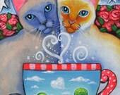 Valentine's Magic  - 5x7 print - by Brenna White - siamese cat love roses coffee stars moon