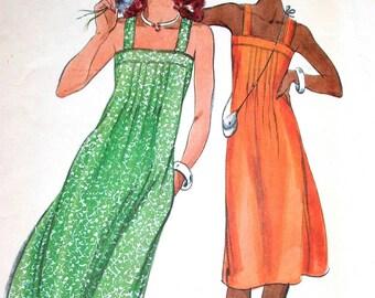 """Butterick Dress Pattern No 5355 UNCUT Vintage 1970s Size 12 Bust 34"""" Sundress Back Zipper Shoulder Straps Front Tucks Side Pockets"""