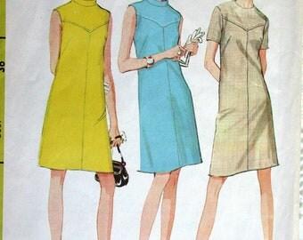 "McCalls Dress Pattern No 9071 Vintage 1960s Size 14 Bust 36"" Short Sleeves or Sleeveless Shaped Front Yoke Back Zipper Band Collar"