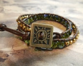 Double Wrap Leather Bracelet- Green and Copper Toned