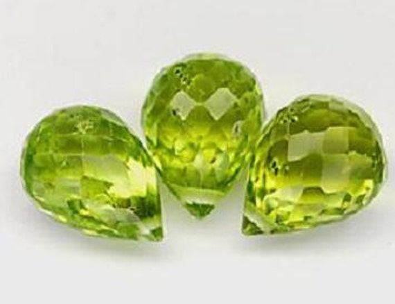 Natural 1 Green Peridot  VVS AAA 7.5mm Briolette Faceted Drilled Bead Gemstone wb36 Take 20% Off
