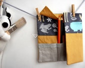 Pencil roll holder for kids, jungle zoology print cotton. Back to school. Ready to ship