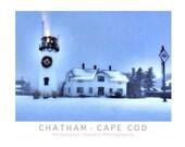 Chatham, Cape Cod Christmas at Chatham Light Photo Poster Print