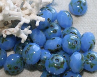 6 x 8mm . Czech Pressed Glass Rondells with picasso .  Cornflower Blue Opalite . 12 beads