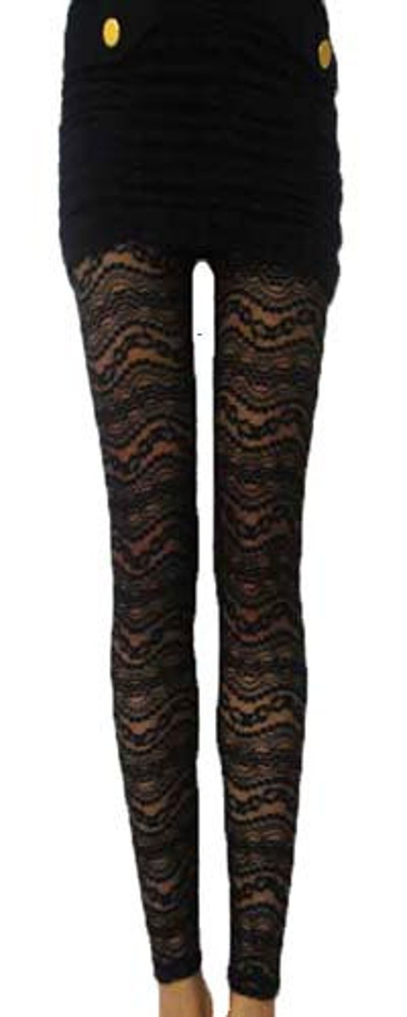 Wave line pattern cozy and easy elastic lace mesh &cotton black leggings (BARI FASHION)