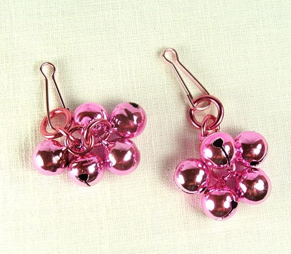 Pink Charms Slave Bell Clusters for Clamps or Nipple Piercings