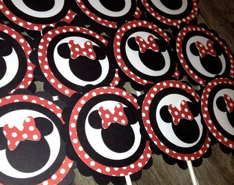 Minnie Mouse Red Polka dot Classic MInnie Toppers Cupcake Birthday Toppers
