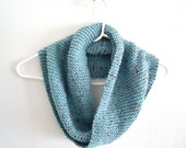 Knitted Infinity Scarf Pastel Blue Cowl, Lullaby Sky Pale Blue, Autumn Winter Scarf