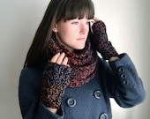 Thick Infinity Scarf for Autumn, Chunky Dark Fall Colors (Black, Orange, Red, Purple Gold) Made-To-Order
