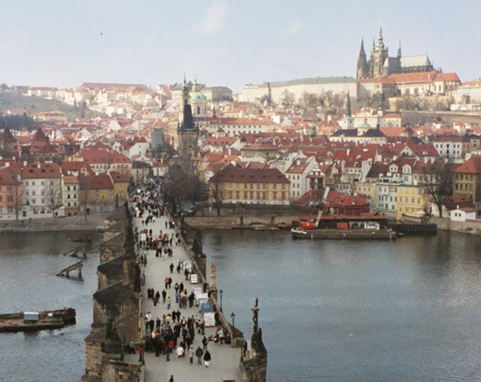 Cold Spring Morning, Charles Bridge, View From The Tower, Praha Prague Castle Hradcany 5x8 Fine Art Photograph
