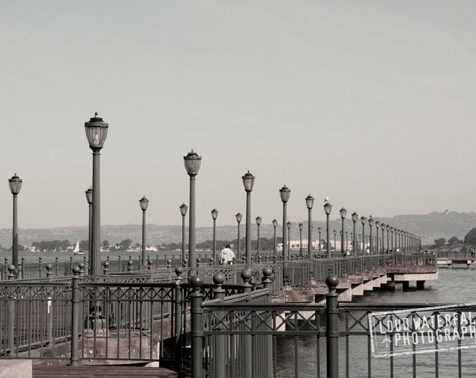San Francisco Pier, Row of Lamp Posts, Lanterns 8x12 Travel Landscape, Fine Art Photography