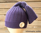 SALE - Upcycled baby hat - newborn - purple with button - ready to ship