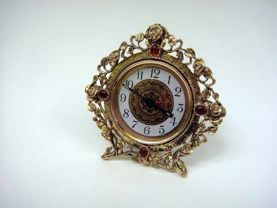 Vintage Desk Clock Gold Gilt Rose Beautiful Scrolling Vines and Leaves Made in USA