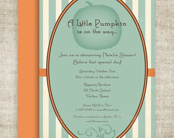 Little Pumpkin Lil' Punkin' BABY SHOWER Invitations Invite Blue Orange Stripes Digital diy Printable Personalized - 109174158