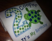 Turtle Birthday Shirt for Kids Turtle Applique