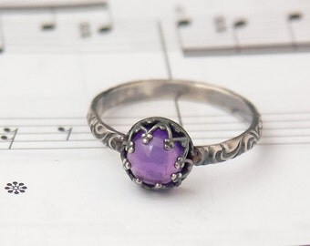 Amethyst Ring, February Birthstone Jewelry, Custom Created in your Size, February Birthstone Ring, Floral Pattern Band, Natural Amethyst