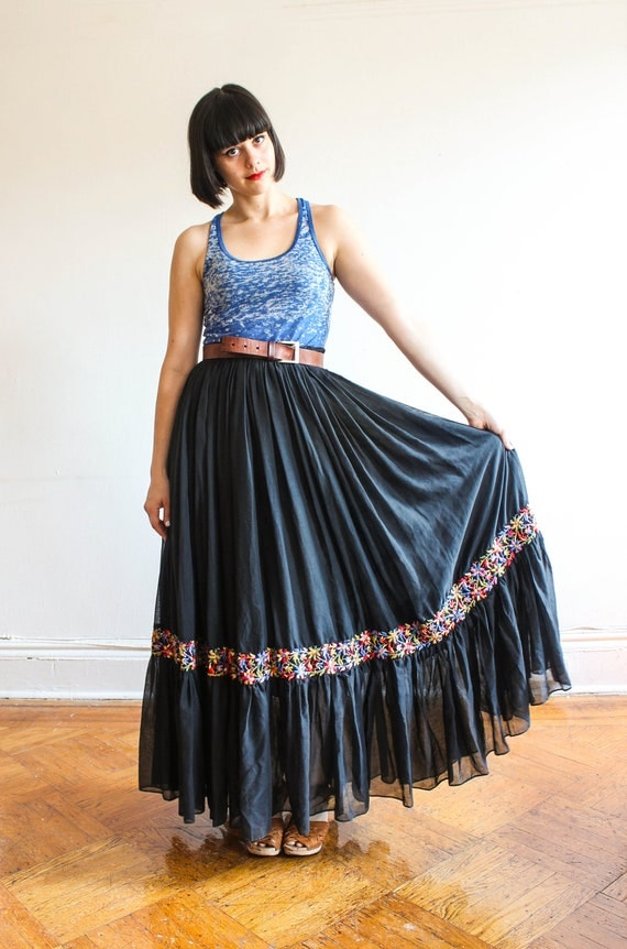black maxi skirt dress peasant mexican tribal s-m