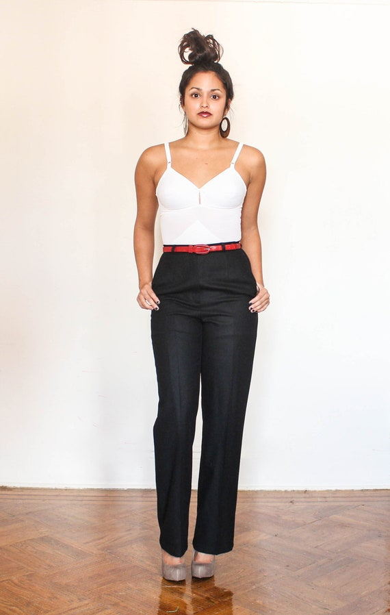high waisted black wool  trousers s-m