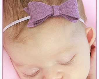 Felt Bow Headband for Infants, Newborns in Wool Felt on Skinny Elastic for Baby Girl, Toddlers Photo Prop Purple Heather, White, Pink, Gray