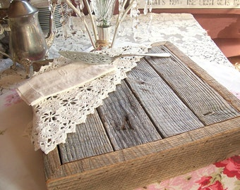 Rustic Wedding Cake Stand Barn Wood - Handcrafted from Reclaimed Oak - Square Cake Stand, Grooms Cake Base, Rustic Decor - Antique Wood
