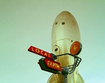 Vintage Spaceship Rocket Fine Art Photograph, Fun Nursery Decor Kids Room, San Francisco Photography, Futuristic Decor - Rocket Man