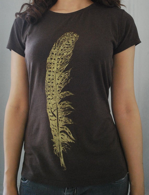 Womens Medium Gold Feather Organic Cotton and Bamboo tee