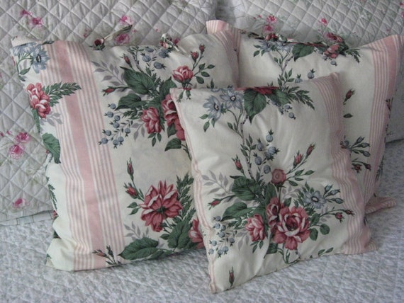 Set of 3 Soft Pink and Rose Print  Pillows Home Decor Cottage