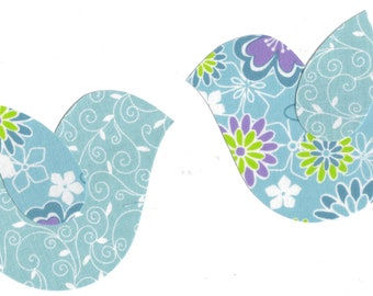 Set of 2 Light Blue Floral Birds Fabric Iron on Appliques
