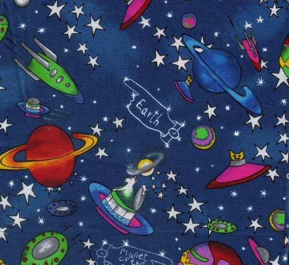 Outer space print scrap fabric by sewcutegiftsandmore on etsy for Space cat fabric