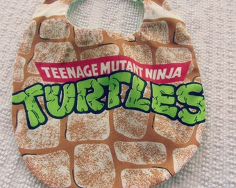 Teenage Mutant Ninja Turtle BABY Bib - TMNT Bib - Ninja Turtle Upcycled Bib - Turtles Baby Bib - Repurposed Vintage Sheets Bib - TMNT Bib
