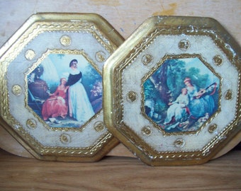 Vintage wooden Picture plaques Made in Italy.