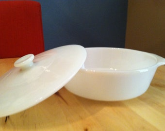 FIRE KING Casserole Milkglass Covered Lid Anchor Hocking Vintage Dinnerware Shipping Included