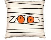 "Halloween Mummy Pillow Cover in Neon Orange, Black and Off White Canvas Cotton - 12""x16"" (30x40cm), 12""x20"" (30x50), 16""x16"" (40x40cm)"