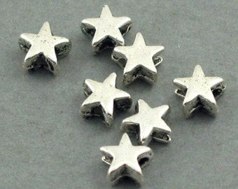 Star Beads Antique Silver tone approx 50pcs base metal 5X5mm BD0020S
